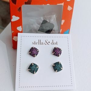 New in box Stella and Dot pave dome studs pack